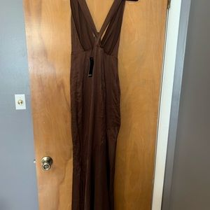Full length brown silk dress